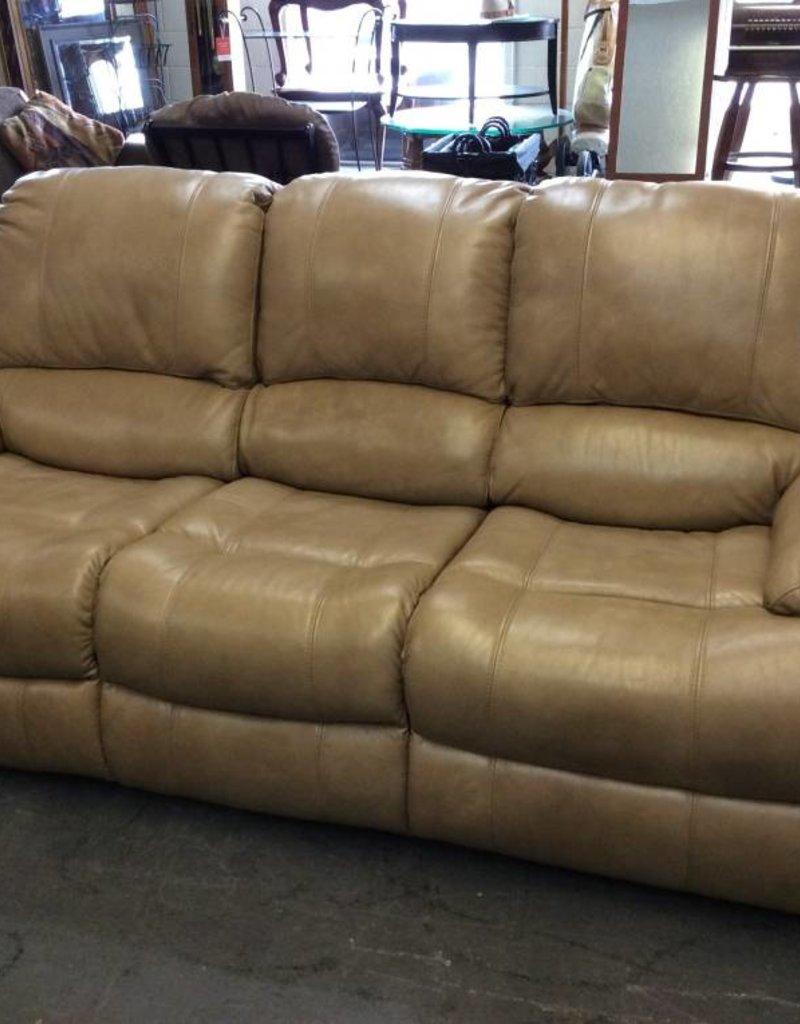 Electric dual reclining sofa / tan leather