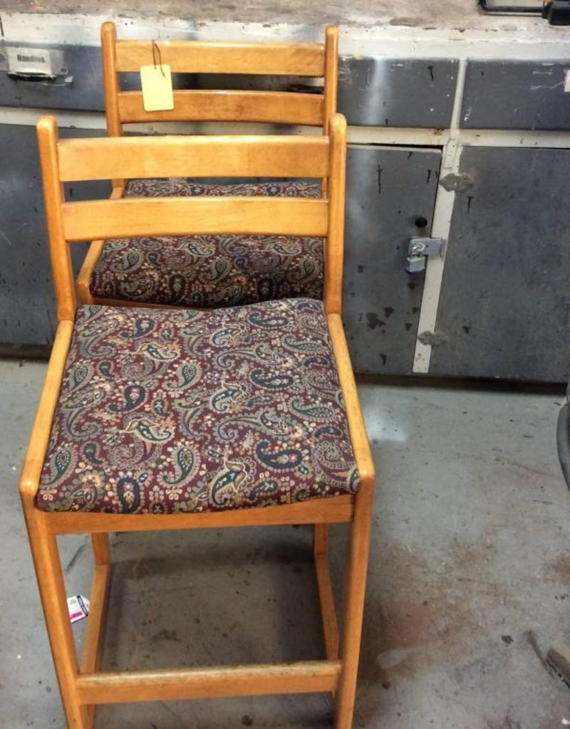 Pair barstools oak and floral