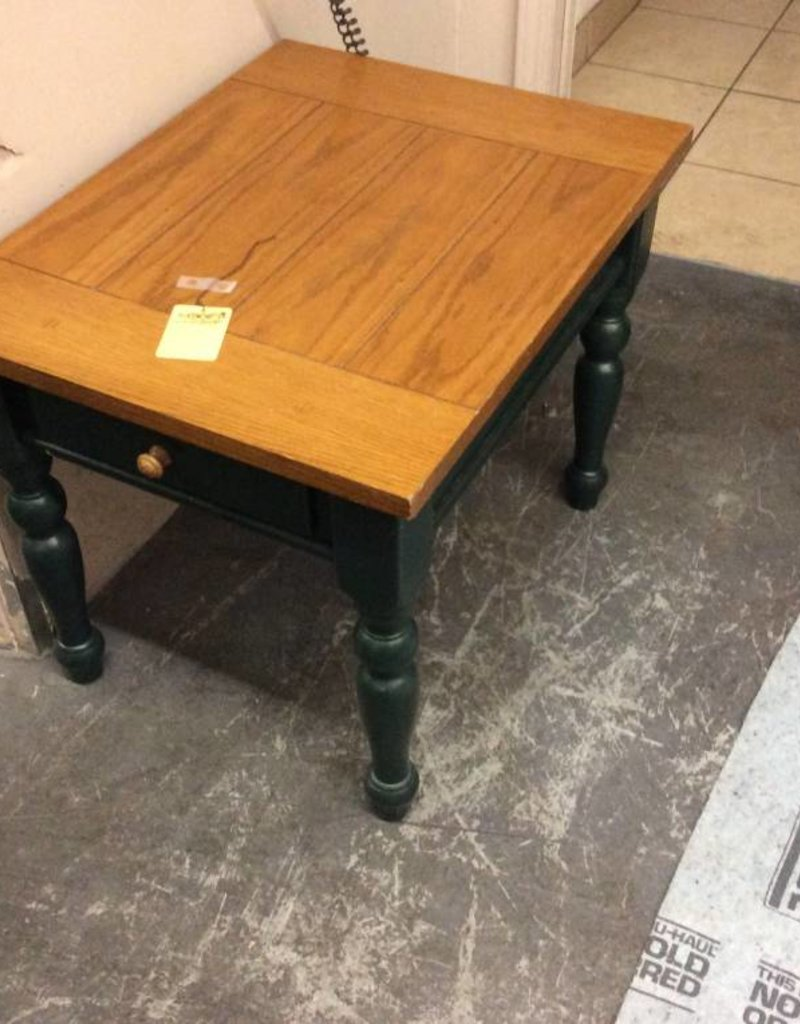 End table green and oak