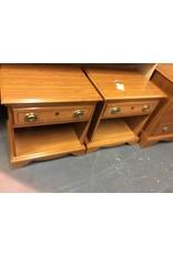 Pair nightstand 1 drawer oak