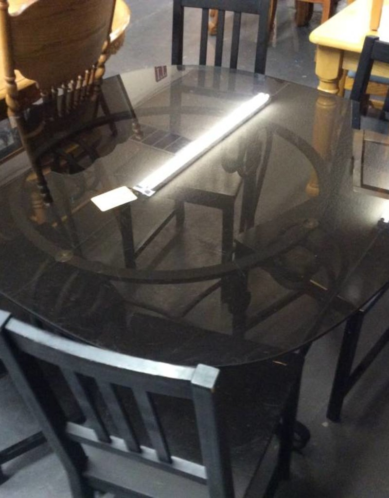 5 pc dinette glass and black