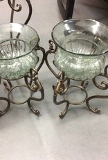 Metal stand with glass bowl