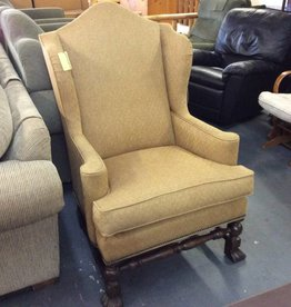 Wing back chair oak and tweed