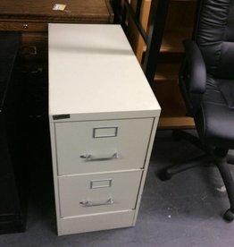 2 drawer file cabinet / grey - metal