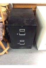 2 drawer file cabinet / black - metal