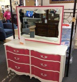 6 dr dresser / white - pink