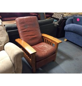 Recliner brown faux leather and oak