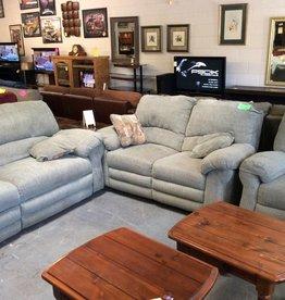 Sofa,love,chair reclining green tweed