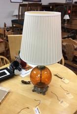 Glass lamp brown base