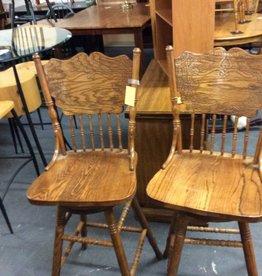 Pair swivel stools oak
