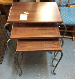 3 piece nesting tables metal oak