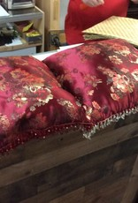 Pair red and floral pillows