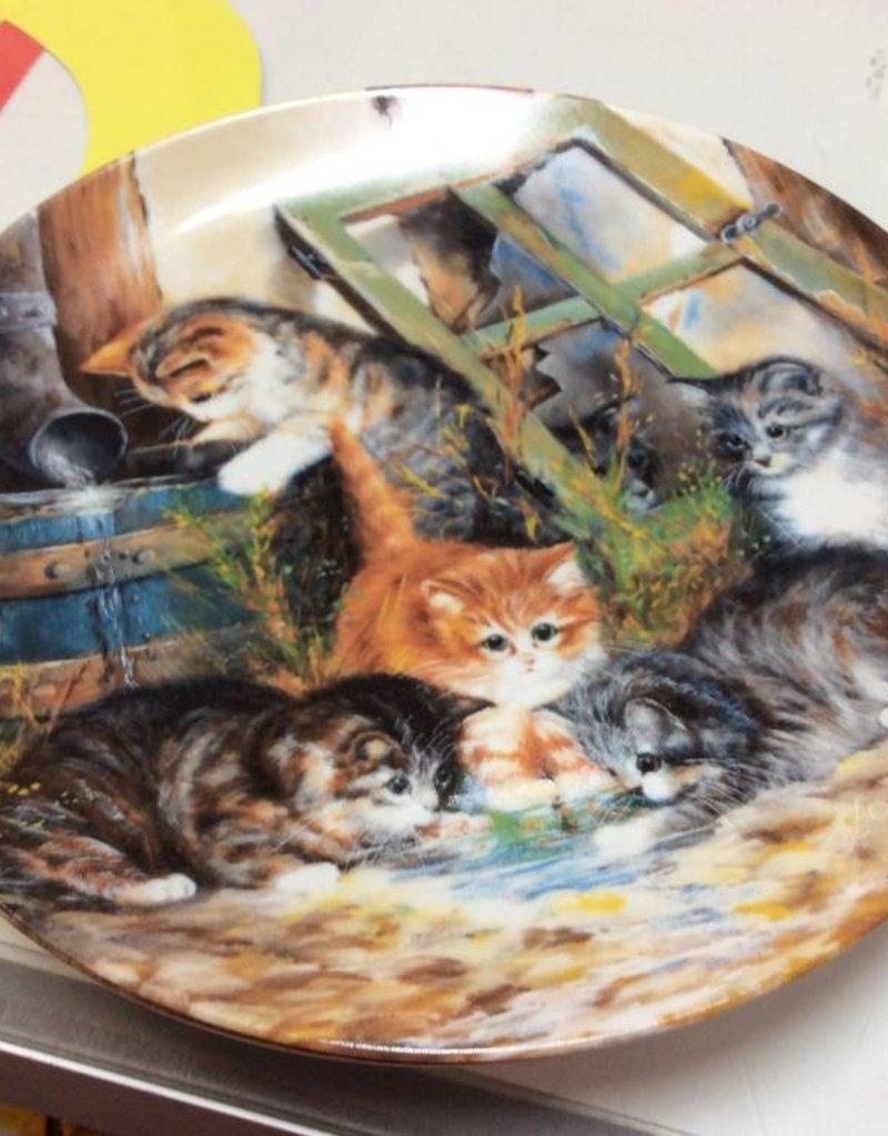 Decor plate kittens drinking water