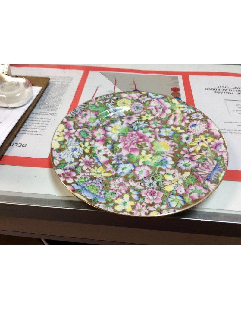 Decor plate multi color flowers