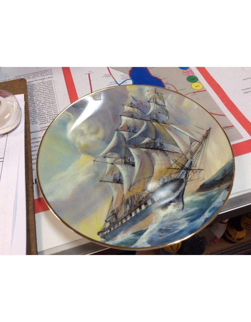 Decor plate ship with cannon ports