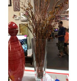 Vase clear glass with stick flowers