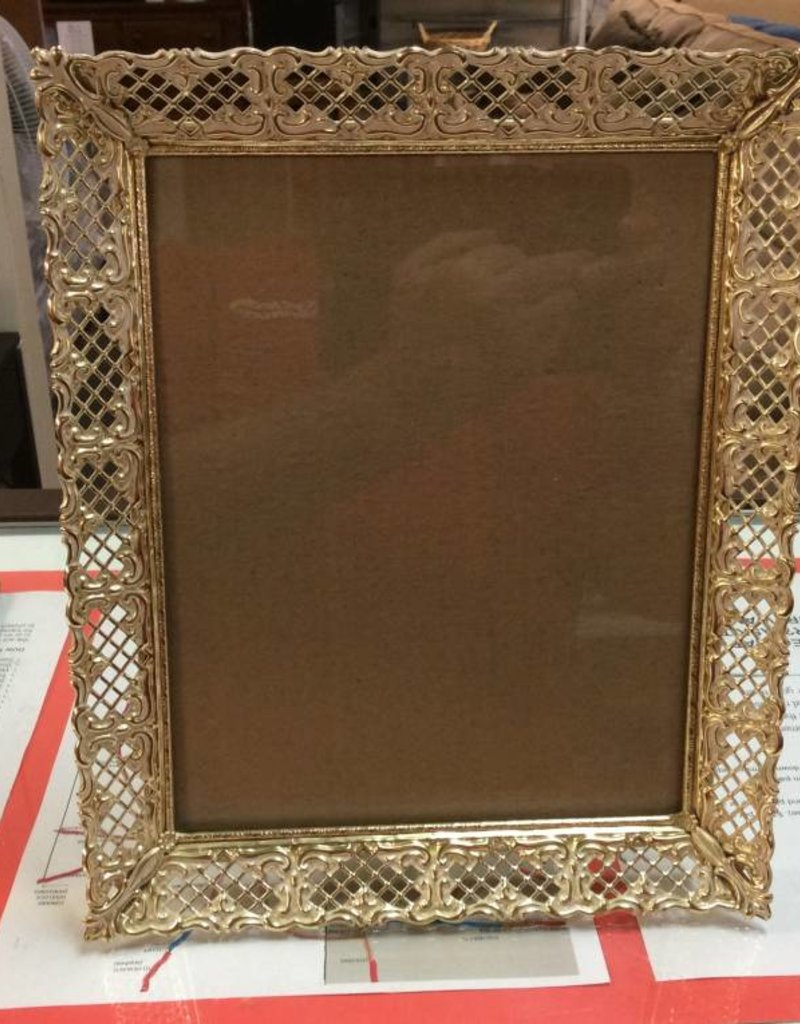 8x10 picture frame gold and cream - Recycled Furniture