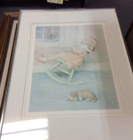 Picture baby in rocker with baby dog on floor