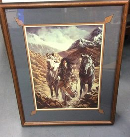 Picture horses with Indian woman