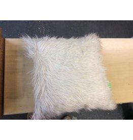 Ivory Faux Fur Throw Pillow