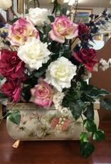 Fake roses w planter