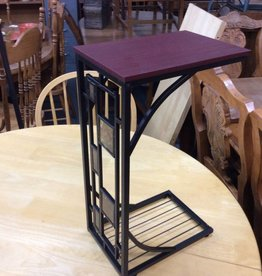 Sofa side end table cherry and metal