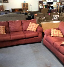 Sofa and loveseat red microfiber with 4 throw pillows
