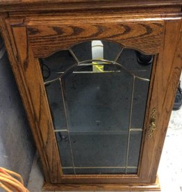 1 door cabinet with flip top oak and glass