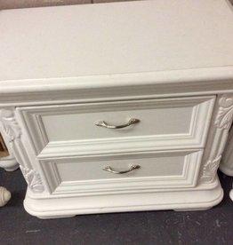 Pair 2 drawer nightstands white