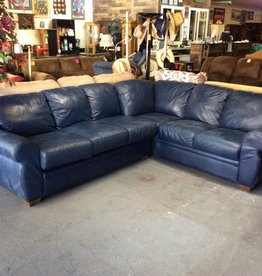 2 piece sectional / blue leather, as- is