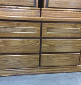 6 drawer dresser / wicker on front
