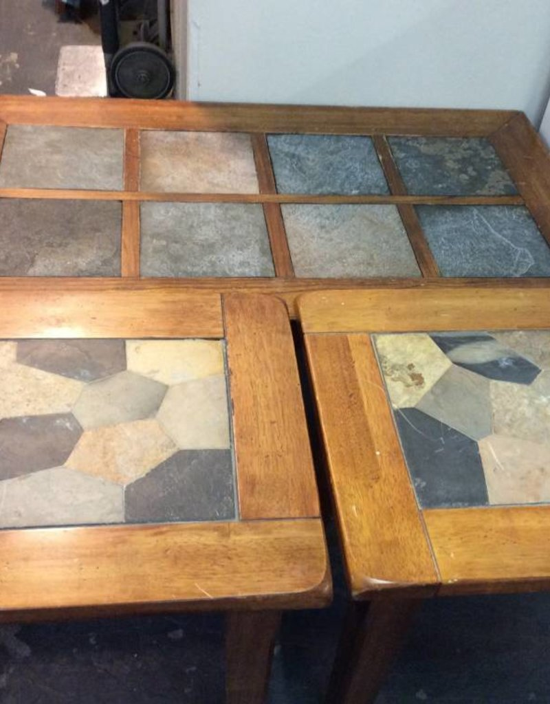 3 pc table set cherry and slate