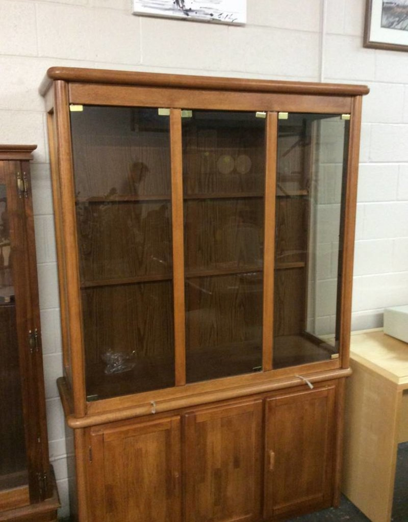 2 piece china hutch oak and glass