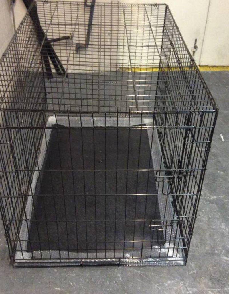 "Dog crate 48"" folding black w/tray"