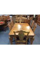 9 piece dinette w/ leaf carved oak w/ floral seats