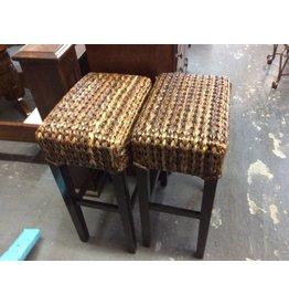 Pair wicker saddle bar stools