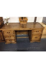 Double ped desk rustic pine