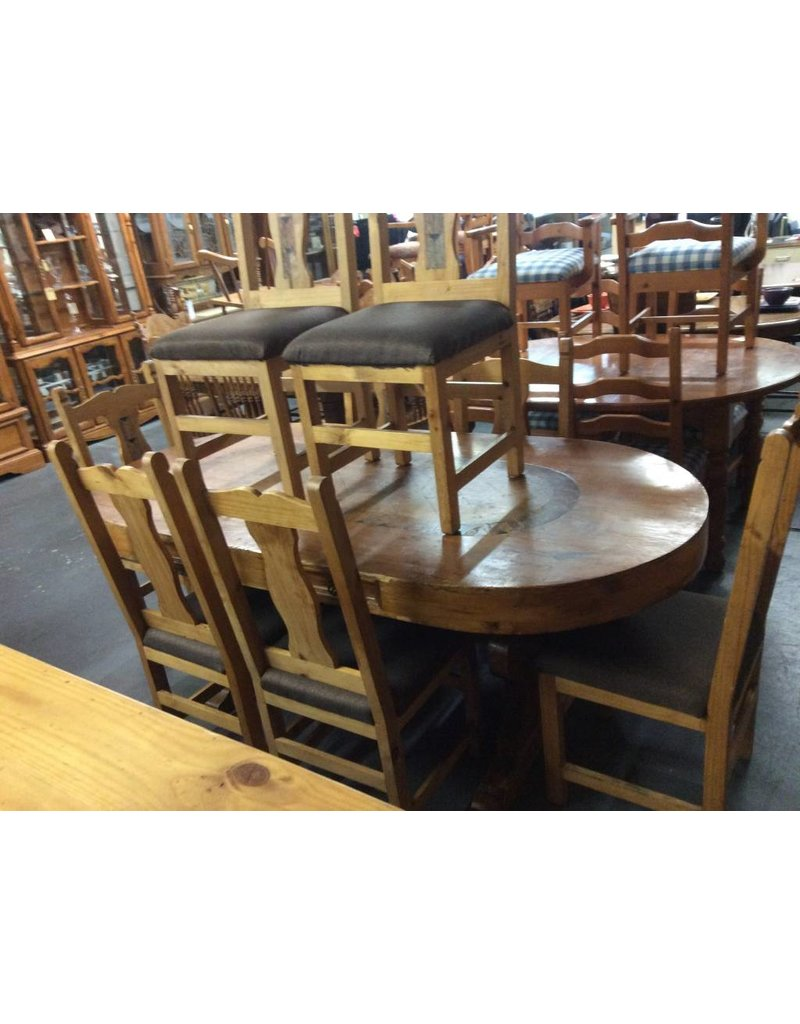 9 piece dinette w/ 4 drawers slate inserts rustic pine