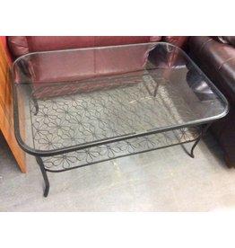 Square coffee table metal glass