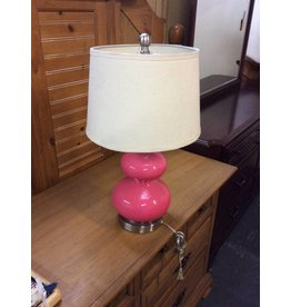 Table lamp pink w/ white shade