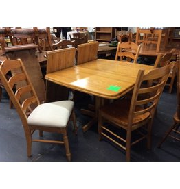 5 Piece Dinette Set, Pine with 2 Leafs