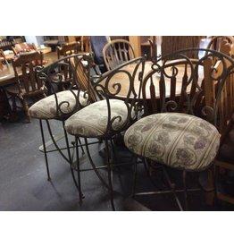 3 swivel barstools metal w/ floral seats