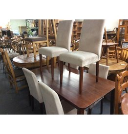 7 piece dinette cherry w/ tan microfiber chairs