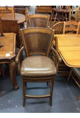 Pair bar stools / swivel / brown padded w tacks