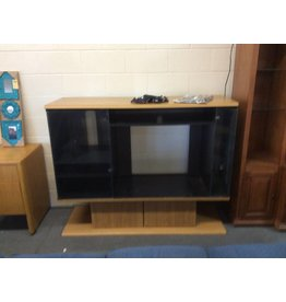 Entertainment center with glass doors oak