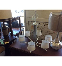 6 bulb hanging chandelier silver w/ white shades