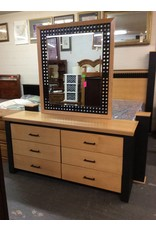 6 drawer dresser / black & natural w mirror