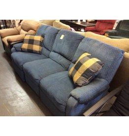 Dual reclining sofa / blue tweed