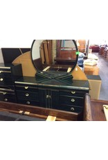 6 drawer dresser w mirror / green n gold