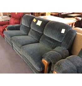 Dual reclining sofa / green n wood